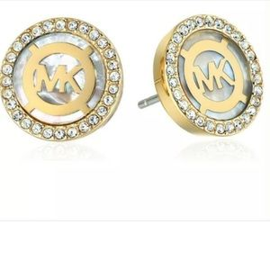 MK Logged Mother-of-Pearl Pave Crystals Earrings
